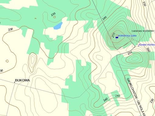 Mapa Okolice Belchatowa w programie MapSource.