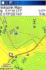 Mapa Okolice Belchatowa w odbiorniku Garmin GPSMap 60CS.