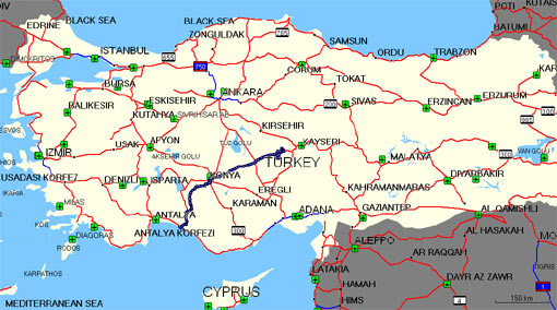 Mapa Turcji z trasą wycieczki.